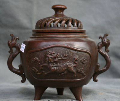 """7"""" Chinese Palace Red Bronze Beast Handle Kylin 3 Foot Pot incense burner Censer"""