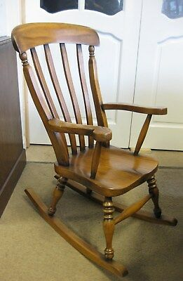 Reproduction Victorian Child's Rocking Chair Made of Oak