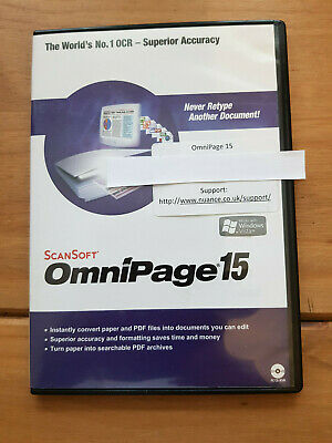 Scansoft Omnipage 15 PC-CD Rom (Covert to PDF and Edit)