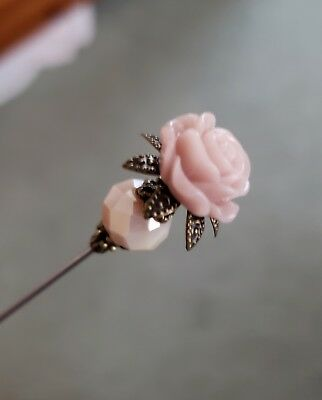 Victorian Hat Pin Vintage Inspired Pink Rose Bead Antique Brass Fittings Strong