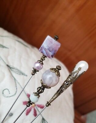 Hat Pins 3 Antique Vintage Inspired Victorian Purple, Pearl, Swirl, Scarf Pins