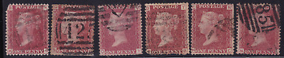 plate-117 SG43 1D Penny Red GB Victorian postage stamp