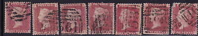plate-111 SG43 1D Penny Red GB Victorian postage stamp