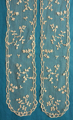 Antique Brussels applique lace lappet