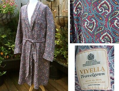Vtg 40s 50s Viyella 'Travelgown' Blue Paisley Mens Dressing Gown Smoking Jacket