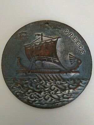 Bronze Medallion of Greek Ship very old signed 1947 in back see photos