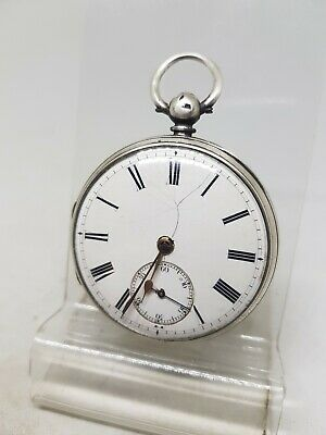 Antique solid silver gents fusee London pocket watch 1866 working ref561