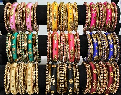 New Indian Bangles Jewellery Silk Thread Wrapped Designer Bangle Set Gold Plated