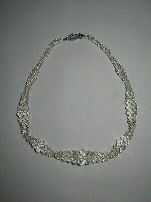 Vintage Art Deco Clear Graduated Faceted Glass Beaded Necklace Choker Rhinestone
