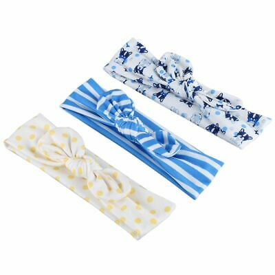 10X(Baby Girls Tie Knot Headband Knitted Cloth Children Girls Elastic Hair Band