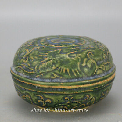 "3.6""Collect Old China Ceramics Green Glaze Porcelain Two Phoenix Birds Rouge Box"