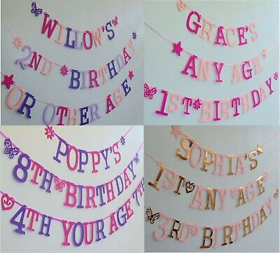 PERSONALISED GIRLS birthday banner BUNTING decoration Name Age ALL COLOURS