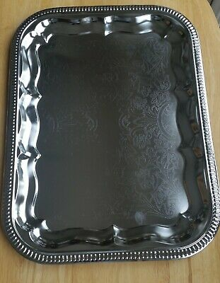 Vintage White Metal Serving Trays Embossed With Engraved Center Design 41x30cm
