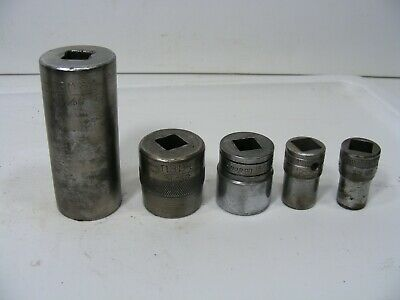 "Lot Of 5 Vintage Snap On 1/2"" Drive Knurled Sockets 12 Point & one 6 point"