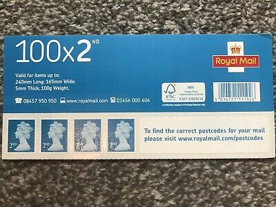 100 Royal Mail 2nd Class Self Adhesive Stamps