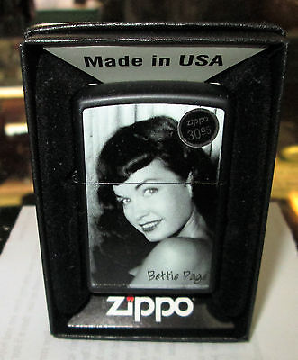 Bettie Page Zippo Lighter Authentic 2015 Licensed Rock N Roll S & M Beautiful