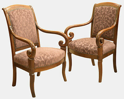 Pair of 19th Century Louis Philippe French Open Armchairs, French Empire Chairs.