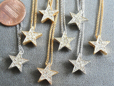 "Vintage NOS lot 8 reversible gold silver tone rhinestone star 16"" necklaces D16"
