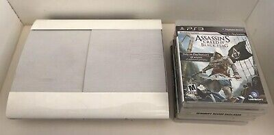 Sony CECH-4001C PlayStation 3 Super Slim 500GB Game Console - White PS3 BUNDLE