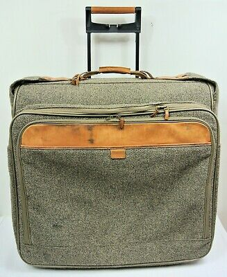 "Hartmann Tweed & Belting Leather 25"" Rolling Double Garment Bag Suitcase Luggage"