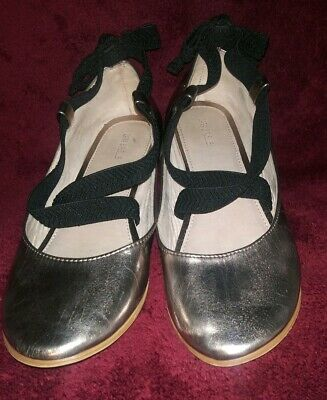 Zara Girls US 3 EUR 35 Silver Black Bow Back Ballerina Flats Shoes Kids