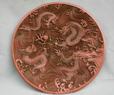 """15"""" Marked Old Chinese China Red Lacquerware Dynasty Dragon Plate Dish"""