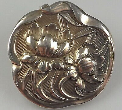 Sterling Silver Button - Art Nouveau Water Lily on a Lily Pad Button
