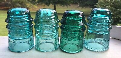 MIxed Lot Vintage Blue Green Glass Insulators Electrical Telegraph Amber #233