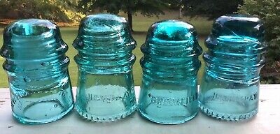 MIxed Lot Vintage Blue Green Glass Insulators Electrical Telegraph Amber #234