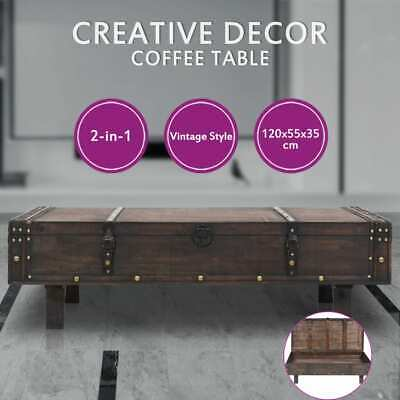 vidaXL Solid Wood Coffee Table Vintage Style Side Couch Trunk Storage Chest