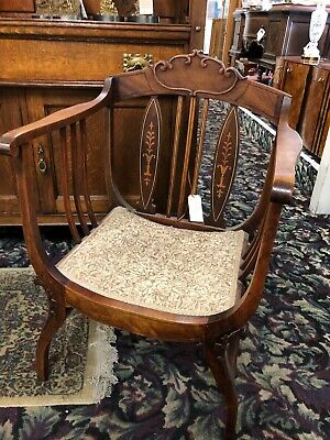 Antique Inlaid Bustle Chair with Cushion