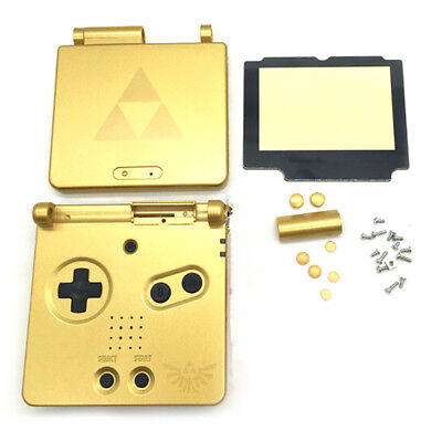 Gold Limited Housing Shell Case Cover+Screen Len for Gameboy Advance SP GBA TS