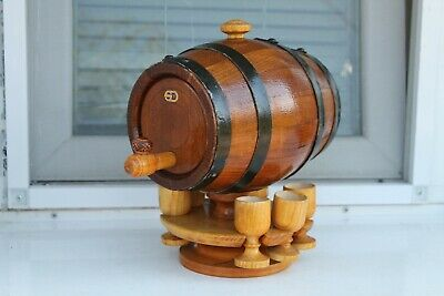 Antique Old Cwe Oak Hand Made Wooden Canteen Flask Keg For Alcohol With Glasses