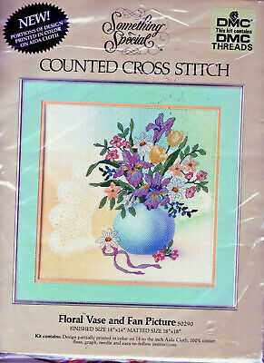 "REDUCED! Floral Vase and Fan LARGE Counted Cross Stitch Kit 14"" x 14"" FREE P&PUK"