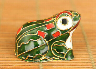 Chinese old cloisonne Handcarved frog statue figure table decoration Hand pieces