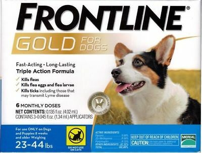 FRONTLINE GOLD FOR DOGS 23 TO 44 LBS 6 DOSES EPA Approved !!  FREE SHIPPING !!