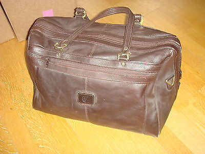 Brown Leather Weekend Travel Bag Holdall Duffle Carry-On Tote Luggage Case