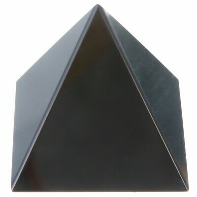 40mm Natural Reiki Energy Charged Black Obsidian Pyramid Crystal Healing Decor