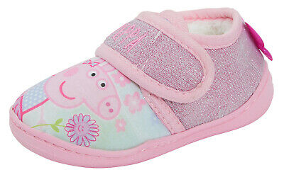 Peppa Pig Glitter Pink Slippers Girls Character Fleece Lined Booties House Shoes