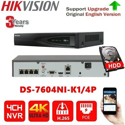 Hikvision 4Ch 4K Ds-7604Ni-K1/4P Poe H.265 2/3/4Tb Nvr Network Video Recorder