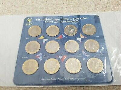1st Official Issue of 12x €1 Euro Coin Set Collection in Royal Mint sealed pack