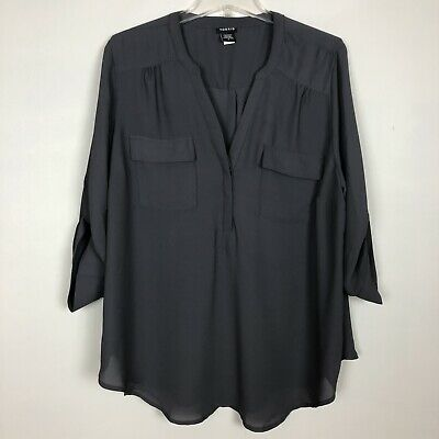 Torrid Womens Popover Blouse 3/4 Roll Tab Sleeve Gray Half Button Size 2 2X Plus