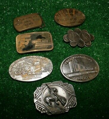 Vintage RARE Lot 7 Belt Buckles Collectable Brass Pewter Advertising