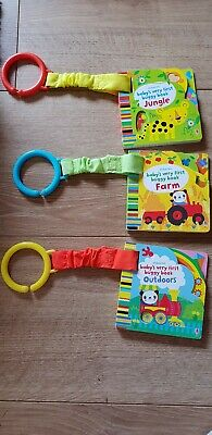 Usborne Babys Very First Buggy Books Animals, farm, jungle, outdoors set of 3..