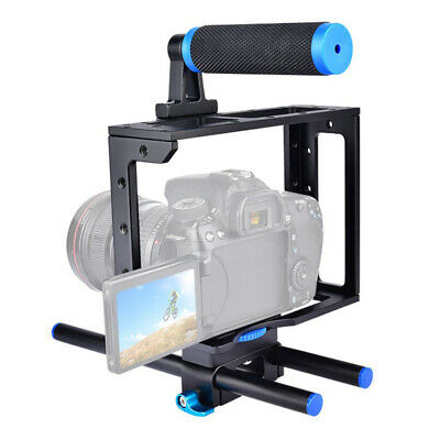 Movie Making DSLR Camera Video Cage Mount Rig Cage Kit+Top Handle Grip 15mm Rod