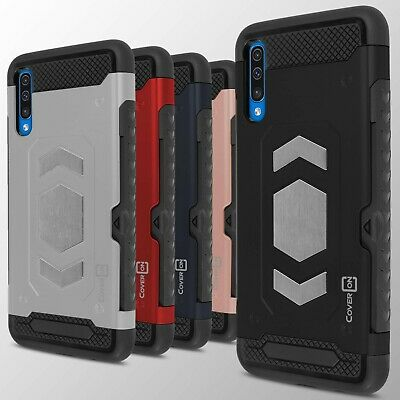 For Samsung Galaxy A50 Credit Card Holder Hard Phone Case with Metal Plate