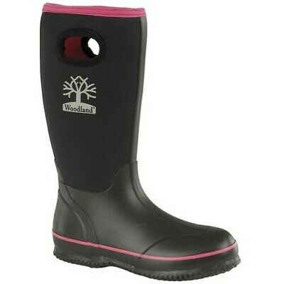 Ladies Woodland Black/Pink Neoprene Stretch Waterproof Wellies Boots W395A Kd
