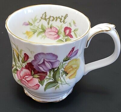 "Vintage Royal Albert ""Flowers Of The Month Series"" Sweet Pea Coffee Cup April"