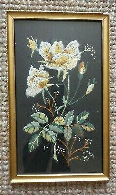 Framed Embroidery Long Stitch Yellow Roses and Leaves on Black Canvas Vintage