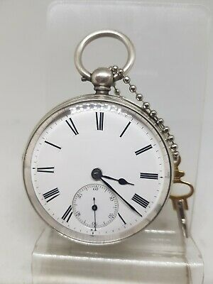 Antique solid silver gents fusee B.J. Cates Hull pocket watch 1863 working re638
